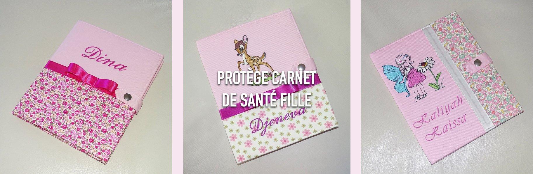 Protège carnet de santé fille personnalisé